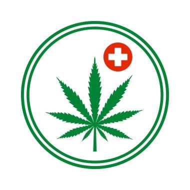 illustration of Marijuana or cannabis leaf Icon Logo.