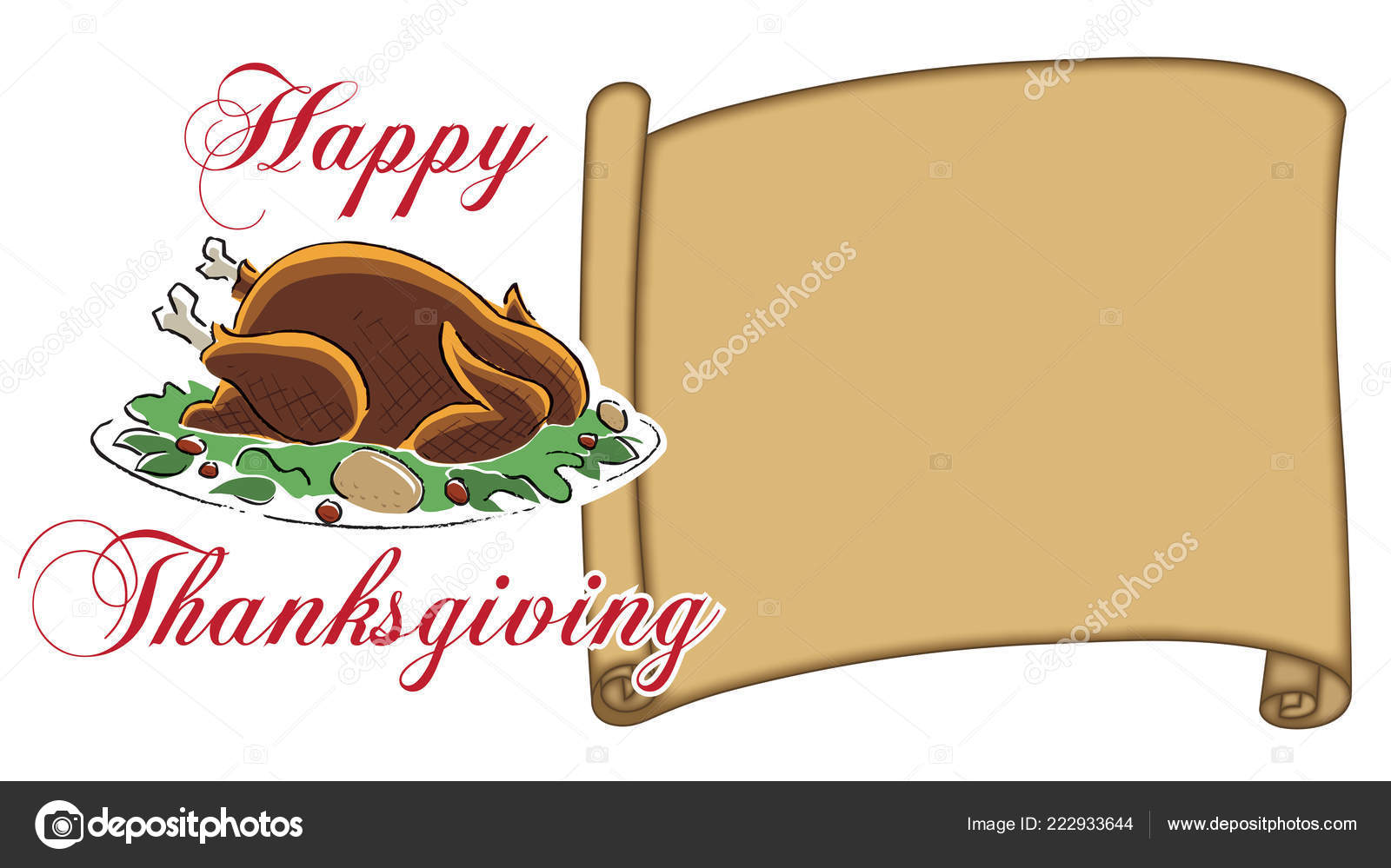 Thanksgiving Blank Place Card Parchment Happy Thanksgiving Type Stock Photo