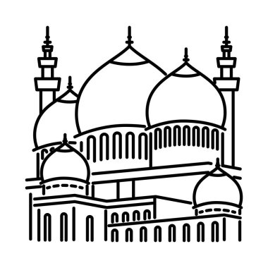 Mosque line icon, outline vector sign, linear style pictogram isolated on white. Symbol, logo illustration.
