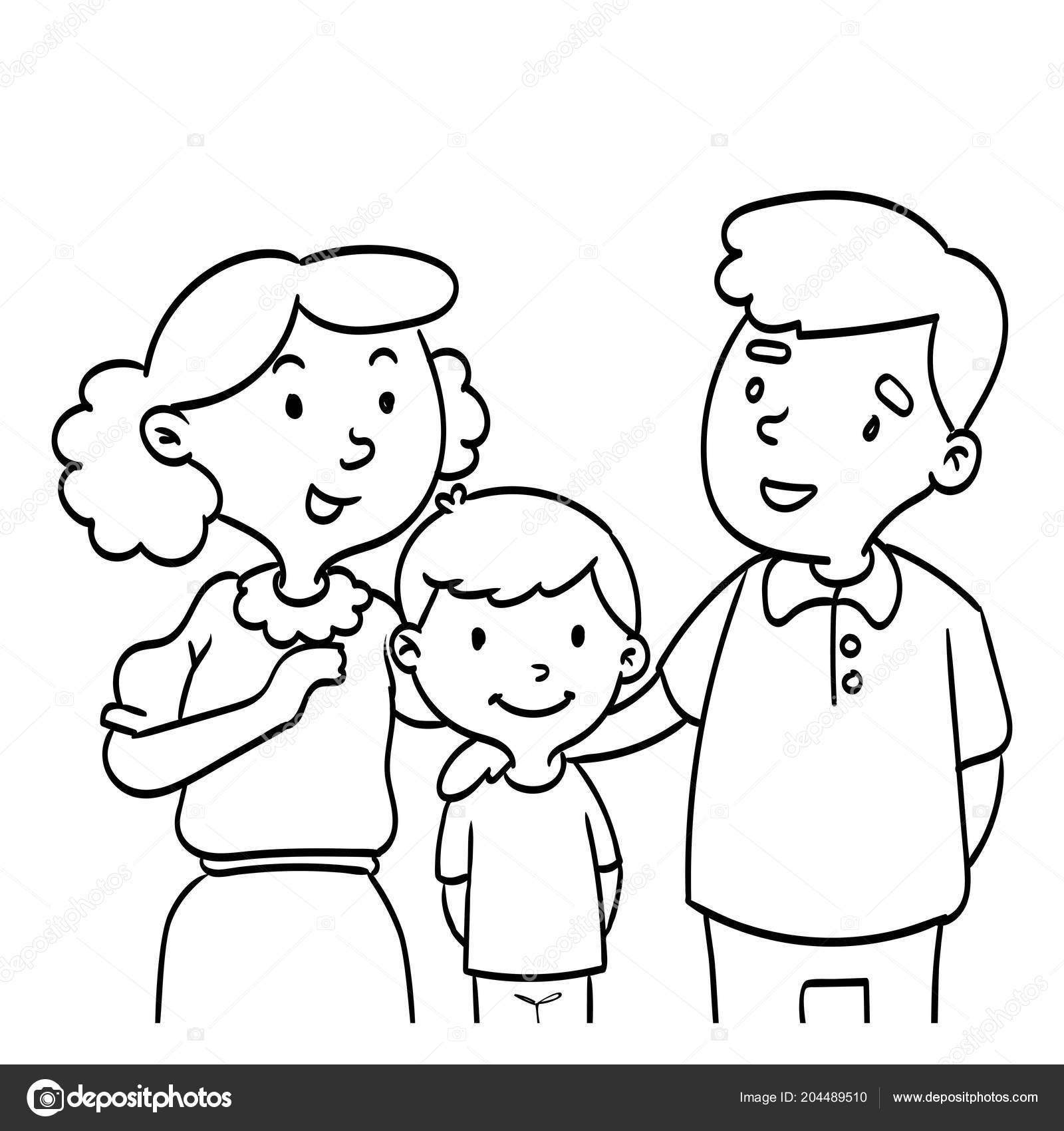Elle çizilmiş Mutlu Bir Aile Boyama Kitabı Eğitim çocuklar Için