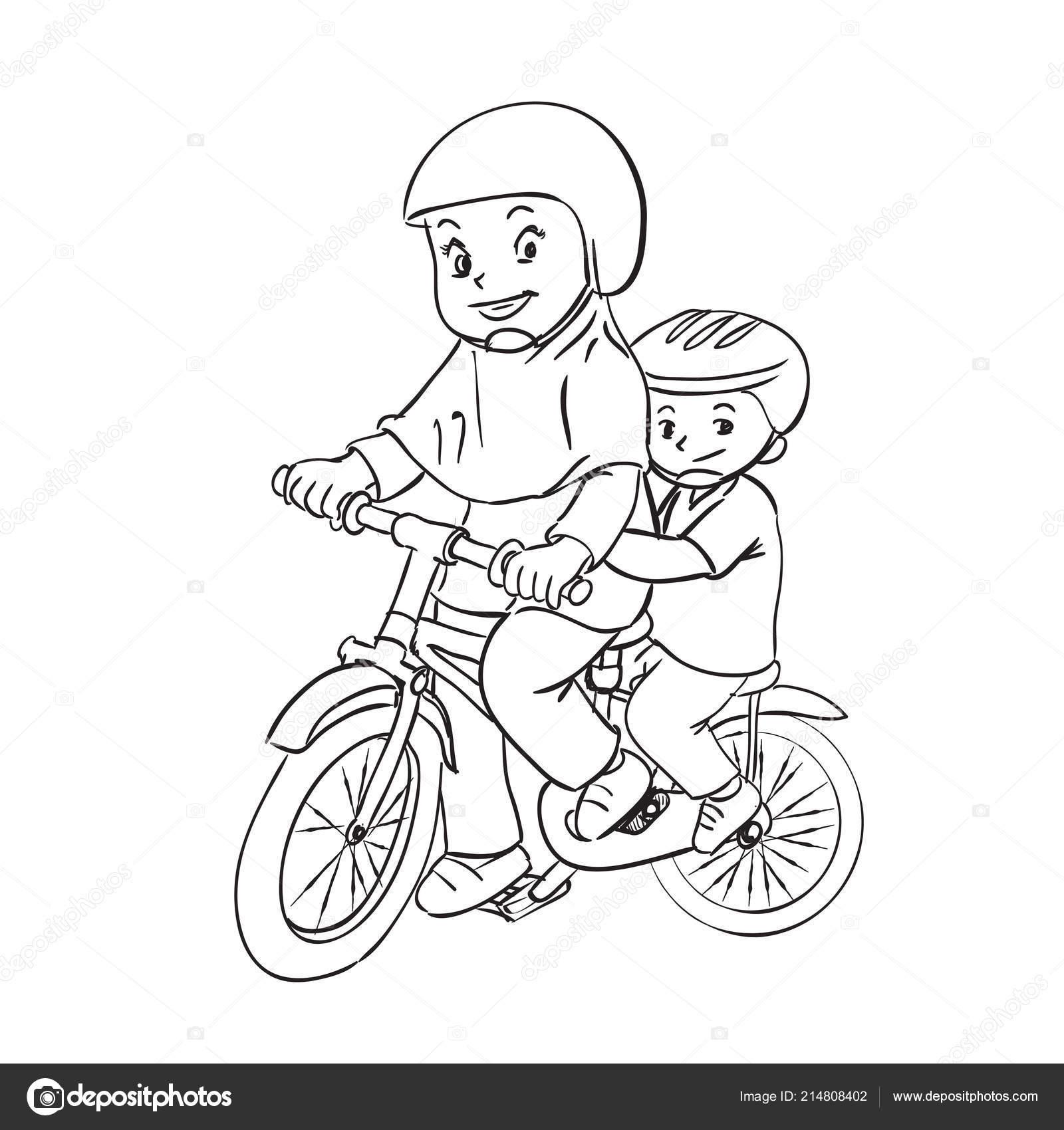 çocuk çizgi Film Illüstrasyon Bisikleti Kız Erkek Binmek Bisiklet