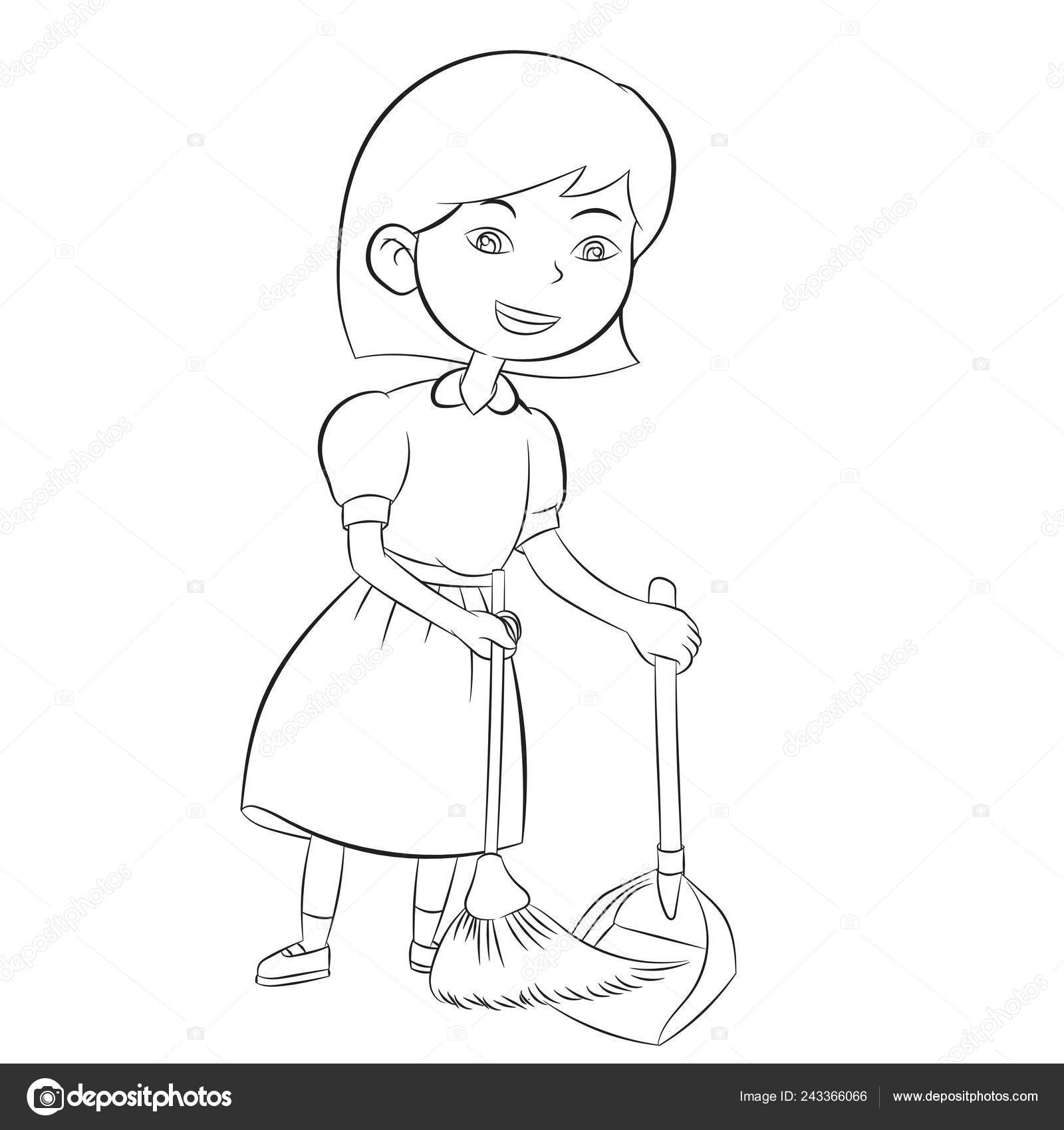 good girl sweeping broom clean home coloring book design kids stock vector c dcliner07 gmail com 243366066 good girl sweeping broom clean home coloring book design kids stock vector c dcliner07 gmail com 243366066