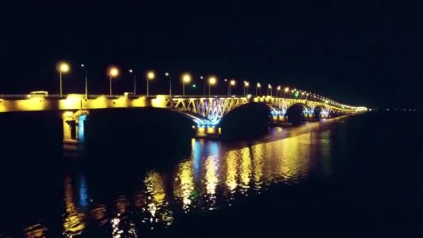 Flight over the night bridge