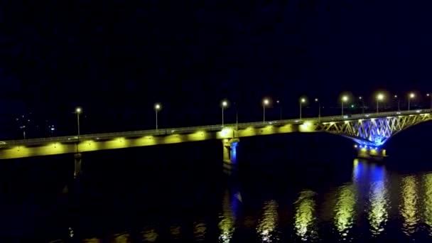 Yellow lights on the road bridge