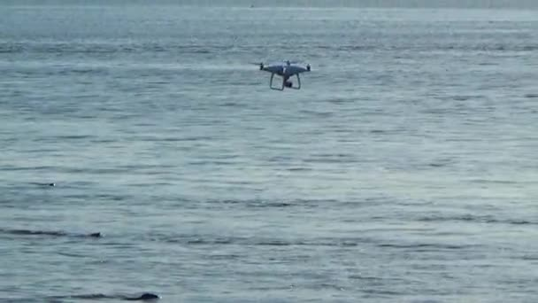 Quadcopter flying over the sea