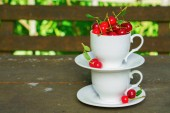 Fotografie Cherries with leaves in white cups on brown wooden rough rural table