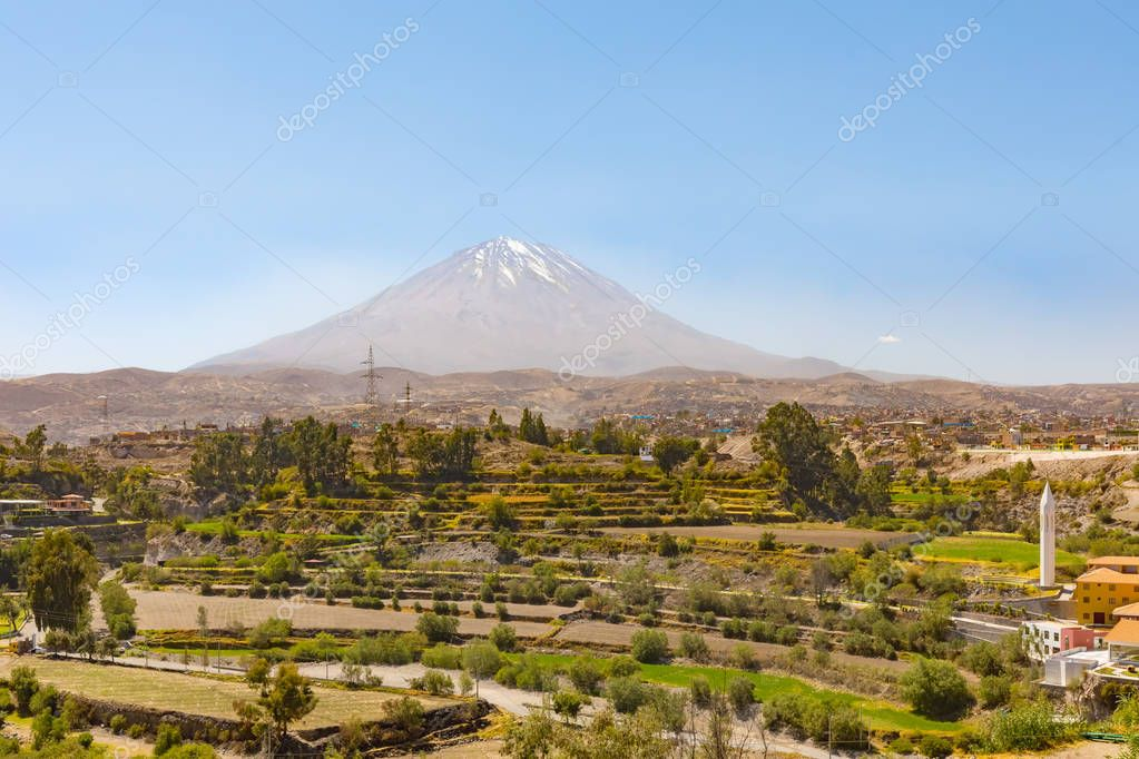 Arequipa Peru September 2018 from the gardens of the Selva Alegre park the view range over the plateau and the volcano