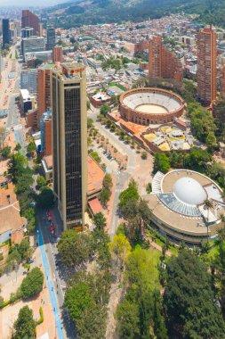 Bogota aerial view of bulls square arena and planetarium buildin