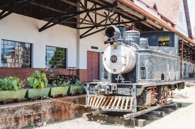 Londrina - PR, Brazil - December 12, 2018: Preserved memories of the train on the historic museum on the old railway station called Museu Historico de Londrina (Padre Carlos Weiss) in downtown.