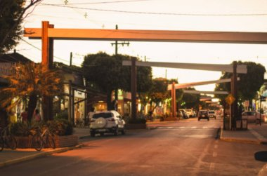 Blurred photo of the main street of the downtown of Bonito MS, Brazil. Coronel Pilad Rebua street at the sunset. Touristic destination of Bonito city.