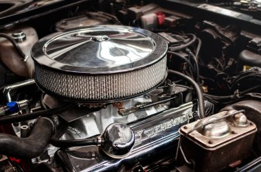 TURIN, ITALY - MARCH 25, 2018: engine detail of a 1980 Chevrolet Corvette L-82 on a classic american car exhibition in Turin (Italy) on march 25, 2018