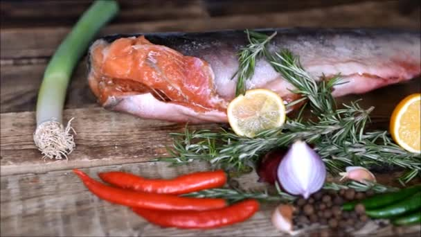 red fish raw and fresh vegetables