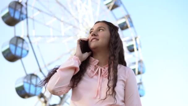 The girl is talking on the phone standing near the Ferris wheel .4K.