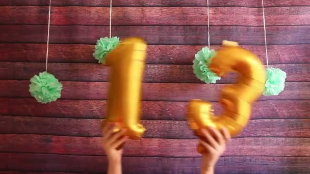 Happy 13 birthday, golden balloons with number thirteen, anniversary celebration with decorations