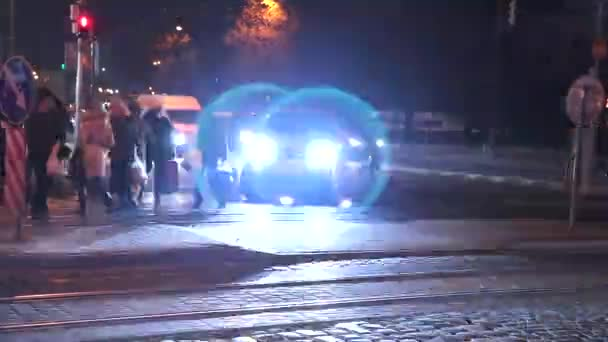 Timelapse Blurred People Crossing The Street In The City At Night With Cars, Traffics Light And Buildings As Background, Night Life In Ukraine Prores Codec