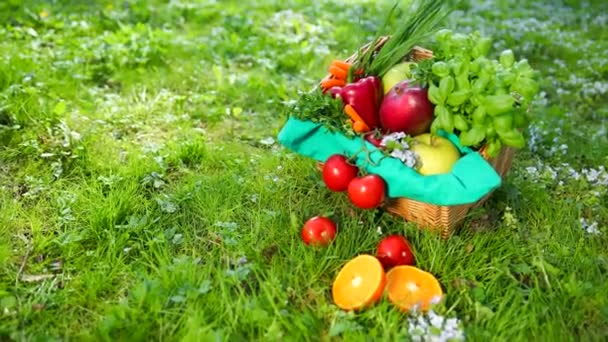 Vegetables And Fruit Lie In A Basket And On A Grass