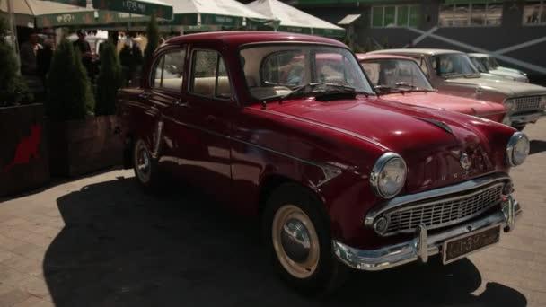 Exhibition of vintage cars on street, Zaporozhets, Moskvich, Zhiguli, Volga