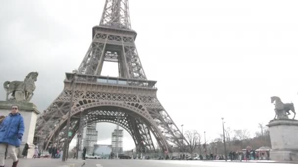 French Metal Eiffel Tower In Paris. European Romantic Symbol Of Love. Roadway