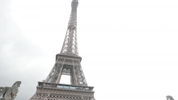 French Metal Eiffel Tower In Paris. European Romantic Symbol Of Love. Roadway