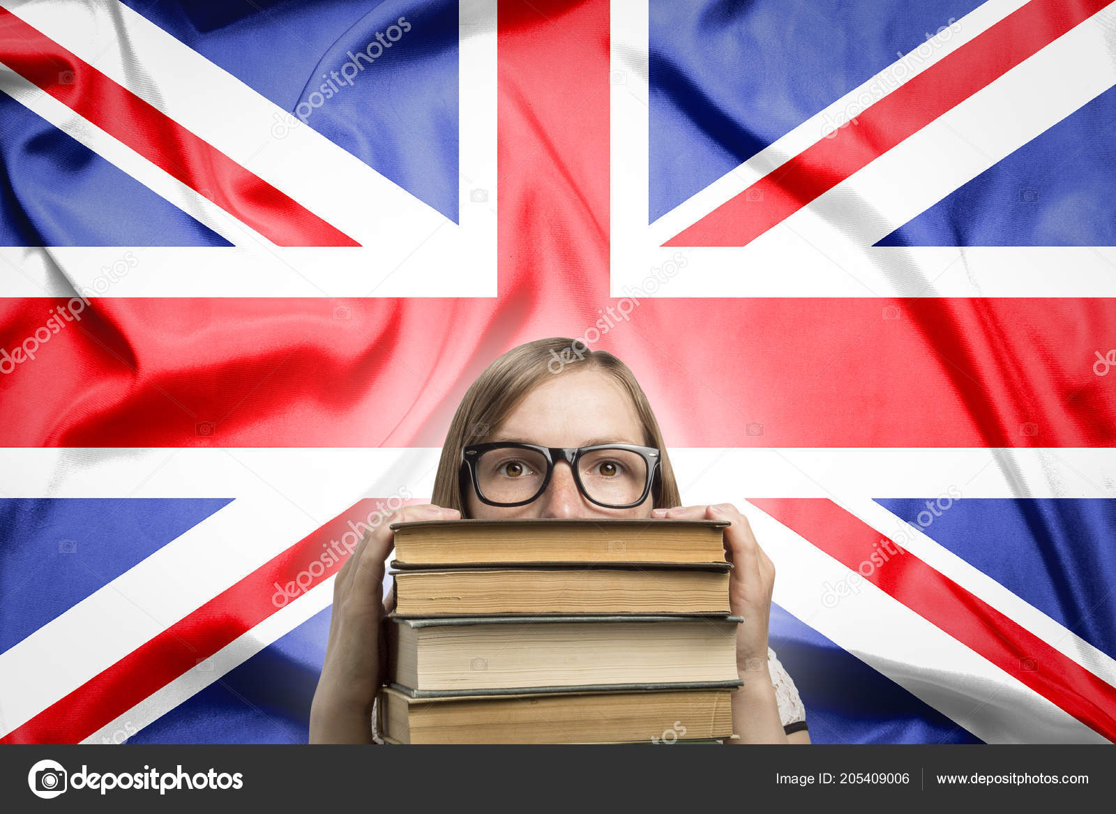 565a62b37245 Young Girl Student Glasses Peeks Out Pile Books Background Flag — Stock  Photo