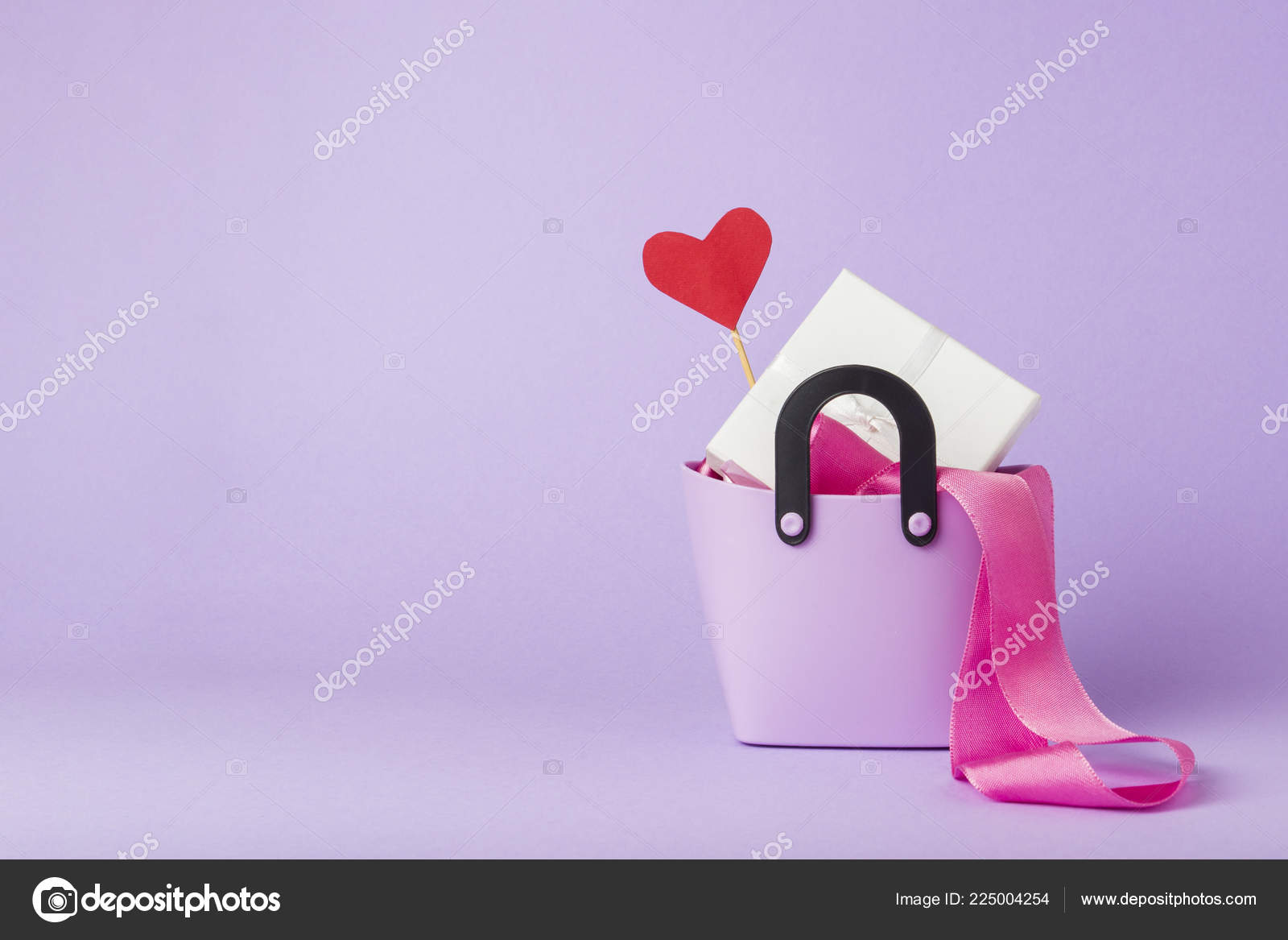 Small Plastic Bag Shopping Gift Boxes Heart Stick Pink Ribbon
