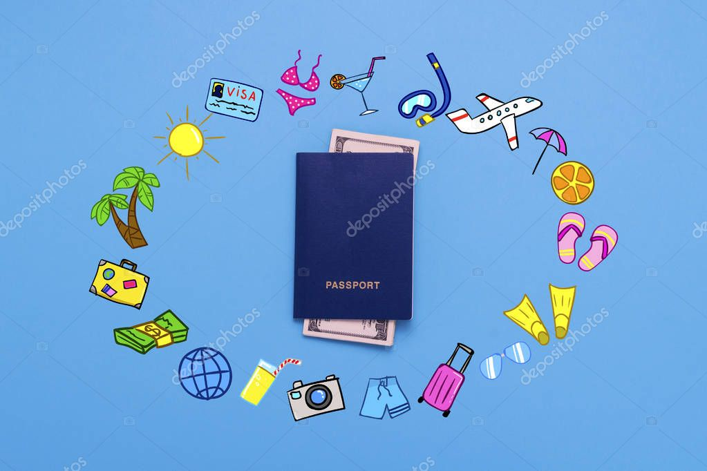 Passports and Banknotes of dollars and added icons of the Travel and Rest on the Blue background. Minimalistic style. Concept of Travel and Holidays. Flat lay, top view