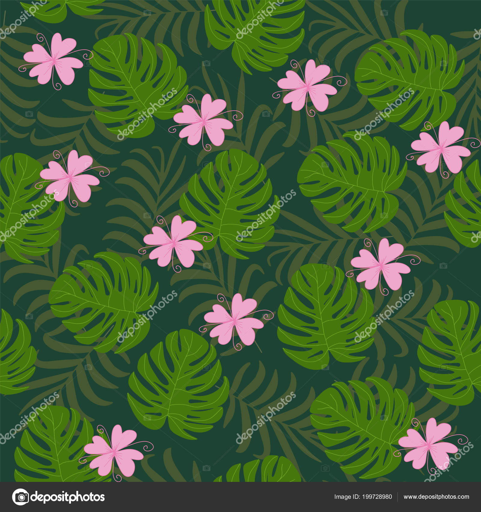 Beautiful Summer Tropical Leaves Banana Palm Green Stock Vector