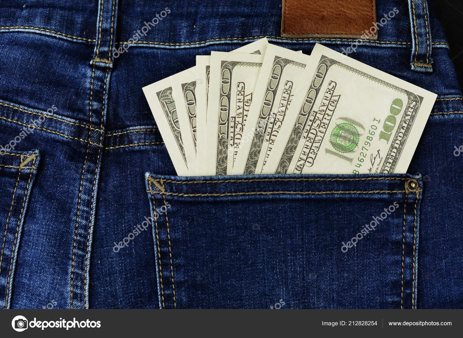 b983e6175 Dinero Canadiense Americano Dólares Billete 100 Cien Bolsillo Del Dril —  Foto de Stock