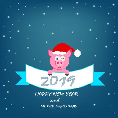 beautiful banner with animals cartoon pig pink with Santa Claus hat wiggles with ribbon text for New Year and Christmas holiday in winter in December 2019