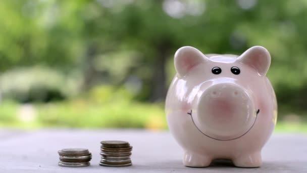 dívka hází peníze mincí do růžové prasátko pro úspory přírody