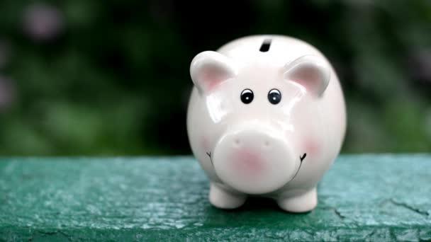 Mädchen wirft Münzen in rosa Sparschwein für Ersparnisse in der Natur