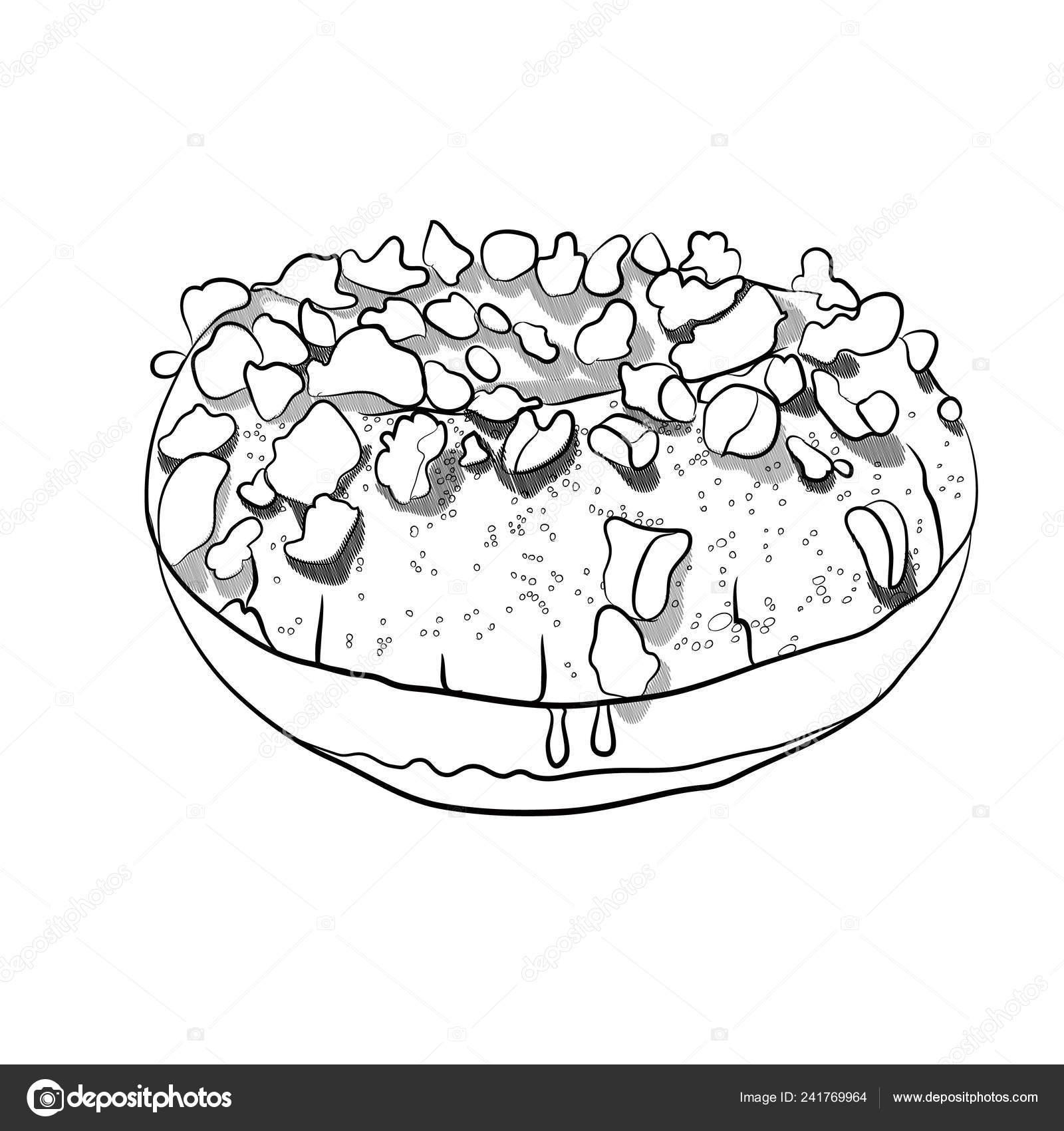 Buñuelo Con Chips Chocolate Negro Ilustración Vectores Blanco Dibujo