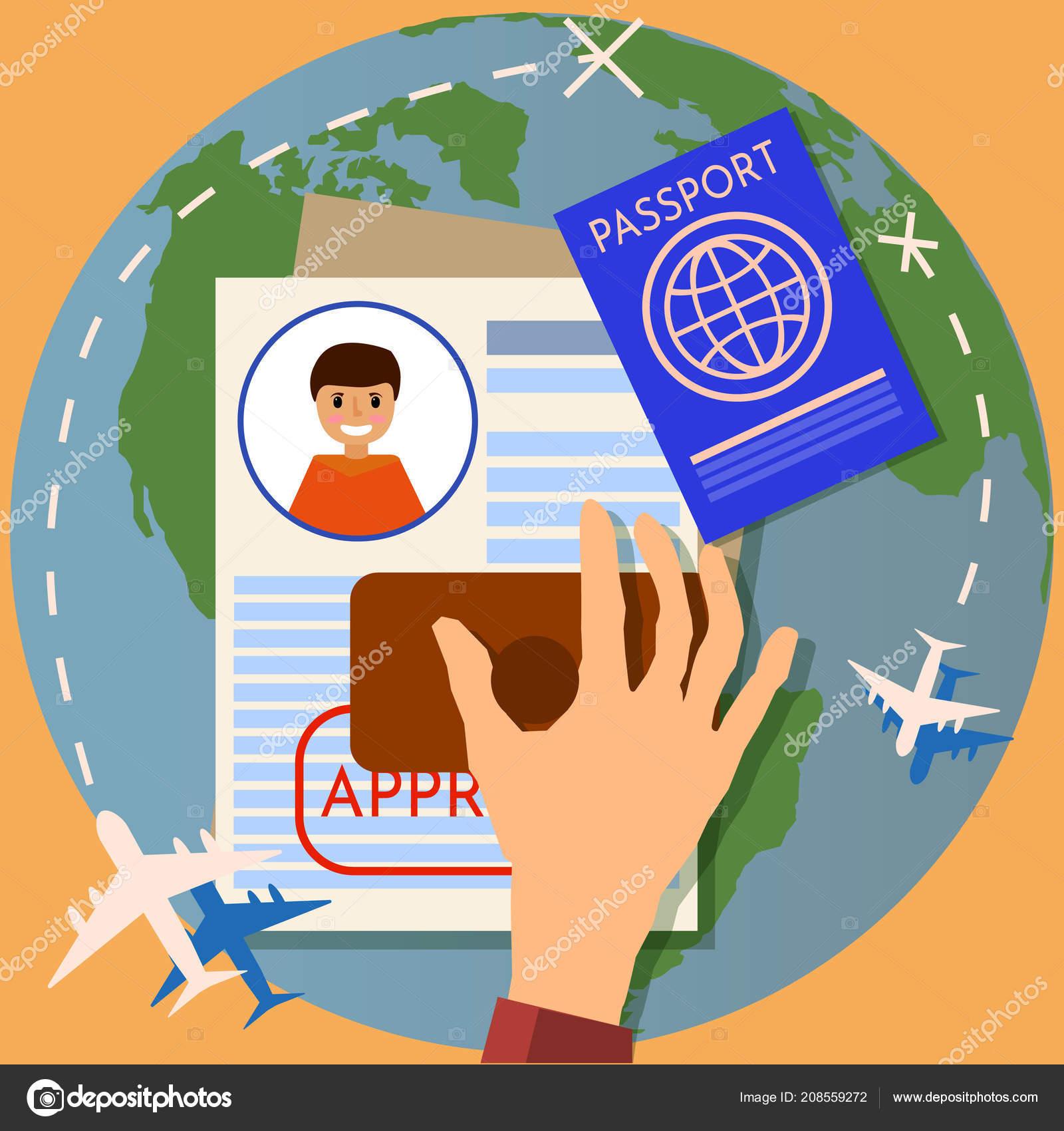 Visa Stamping Passport Or Application Travel Immigration Stamp Vector Illustration Stock
