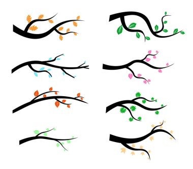 Collection of Tree Branch Silhouettes icon in flat style isolated on white background. Vector illustration