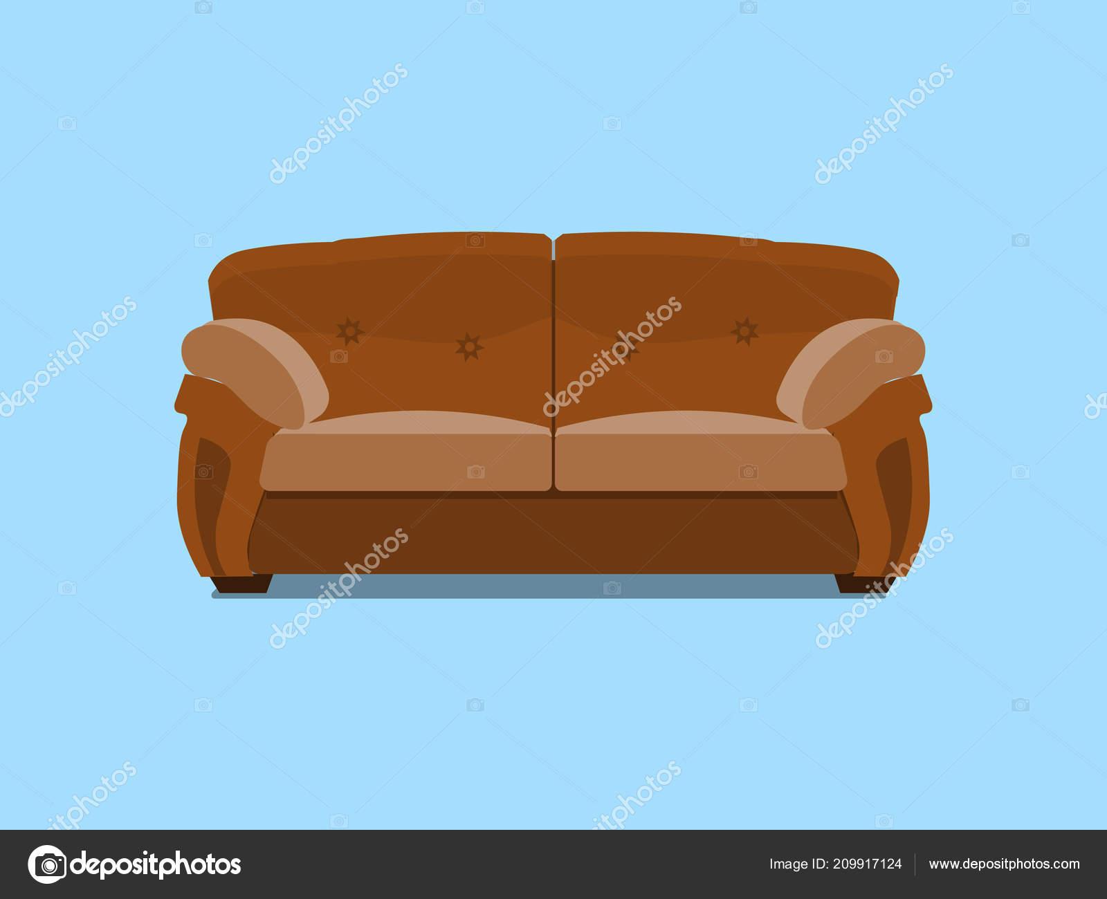 Comfortabele Leren Bank.Bruin Lederen Chester Bank Vectorillustratie Comfortabele Lounge