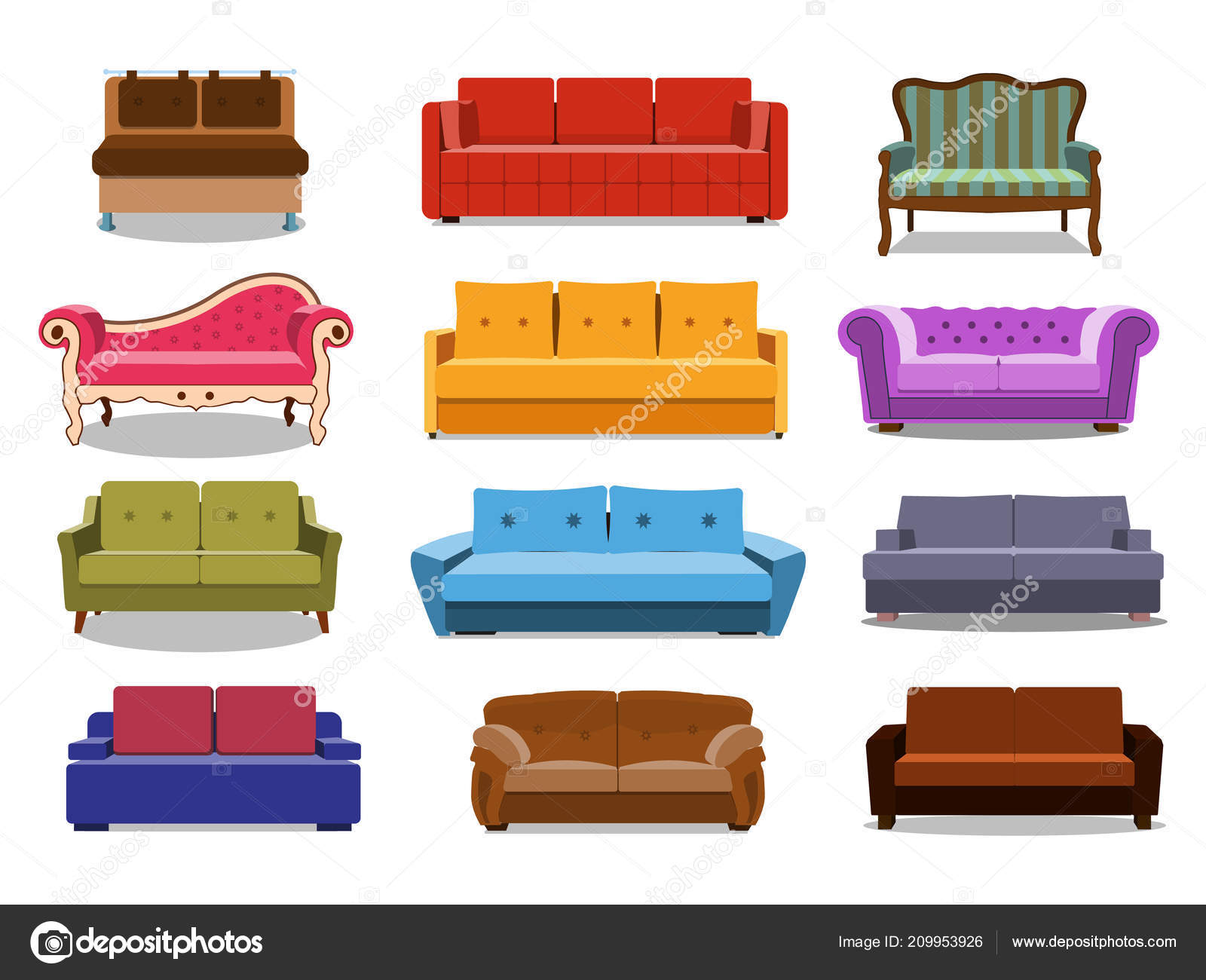 Sillones Coloridos.Sofa Y Sillones Coloridos Dibujos Animados De Ilustracion