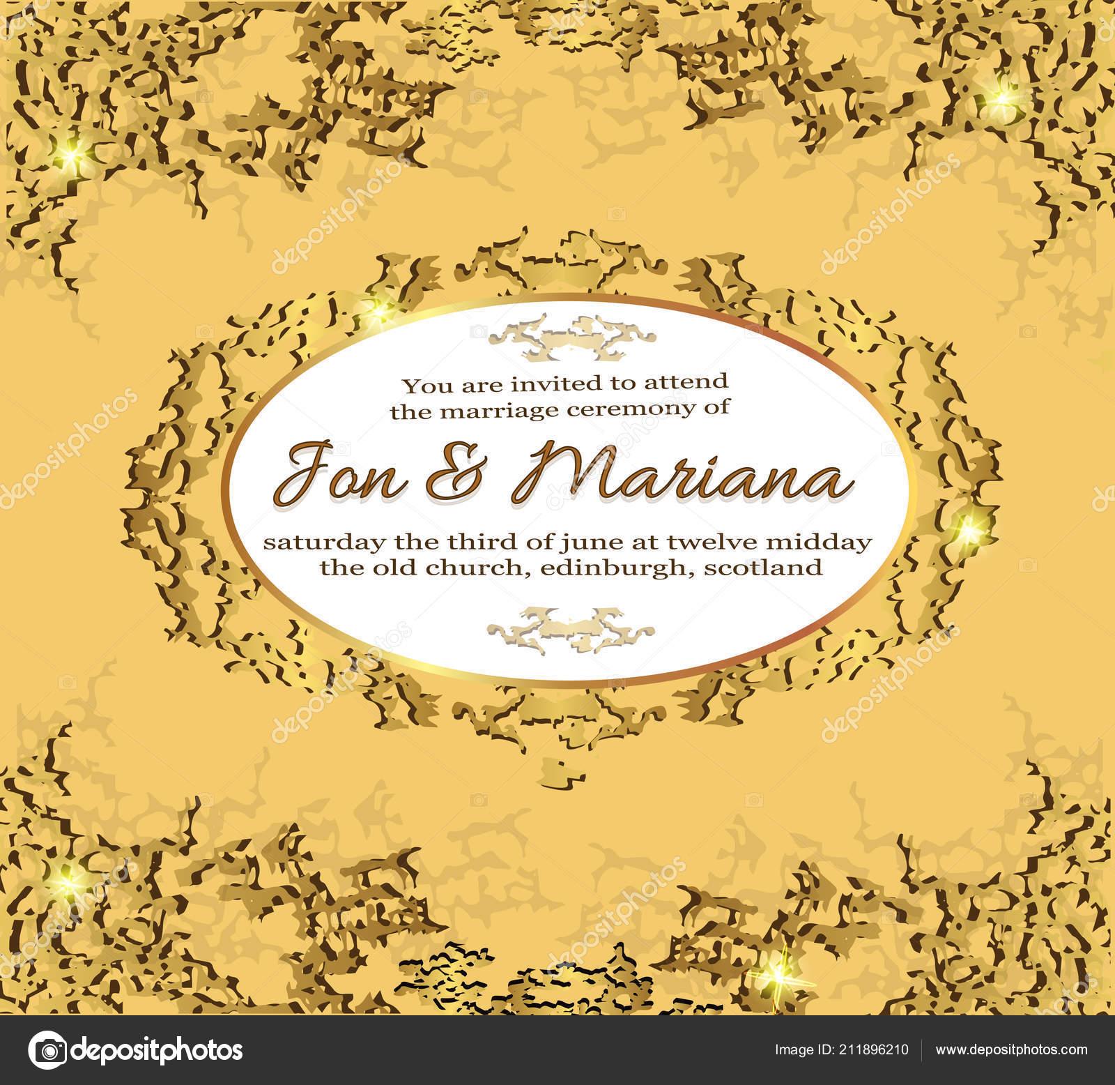 Background Gold Wedding Abstract Wedding Invitation Card