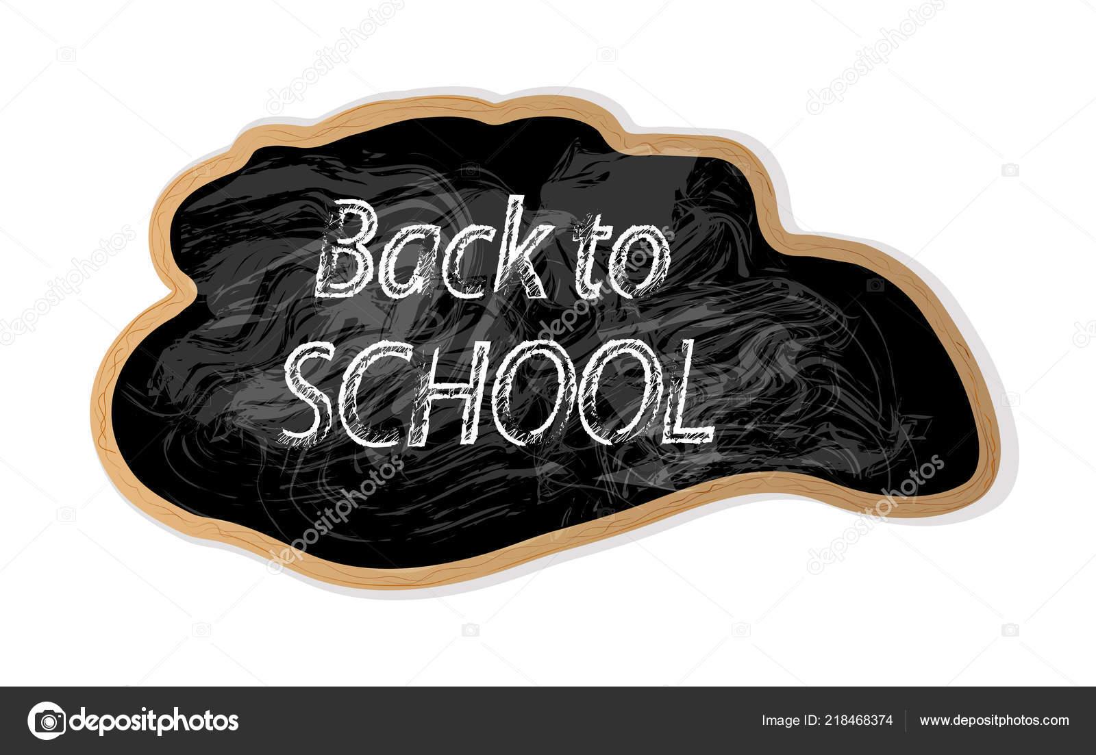 Inscrição giz incomum voltar para escola quadro negro elemento