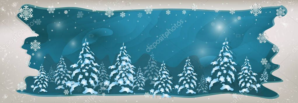 winter frame with snowflakes and snow for text