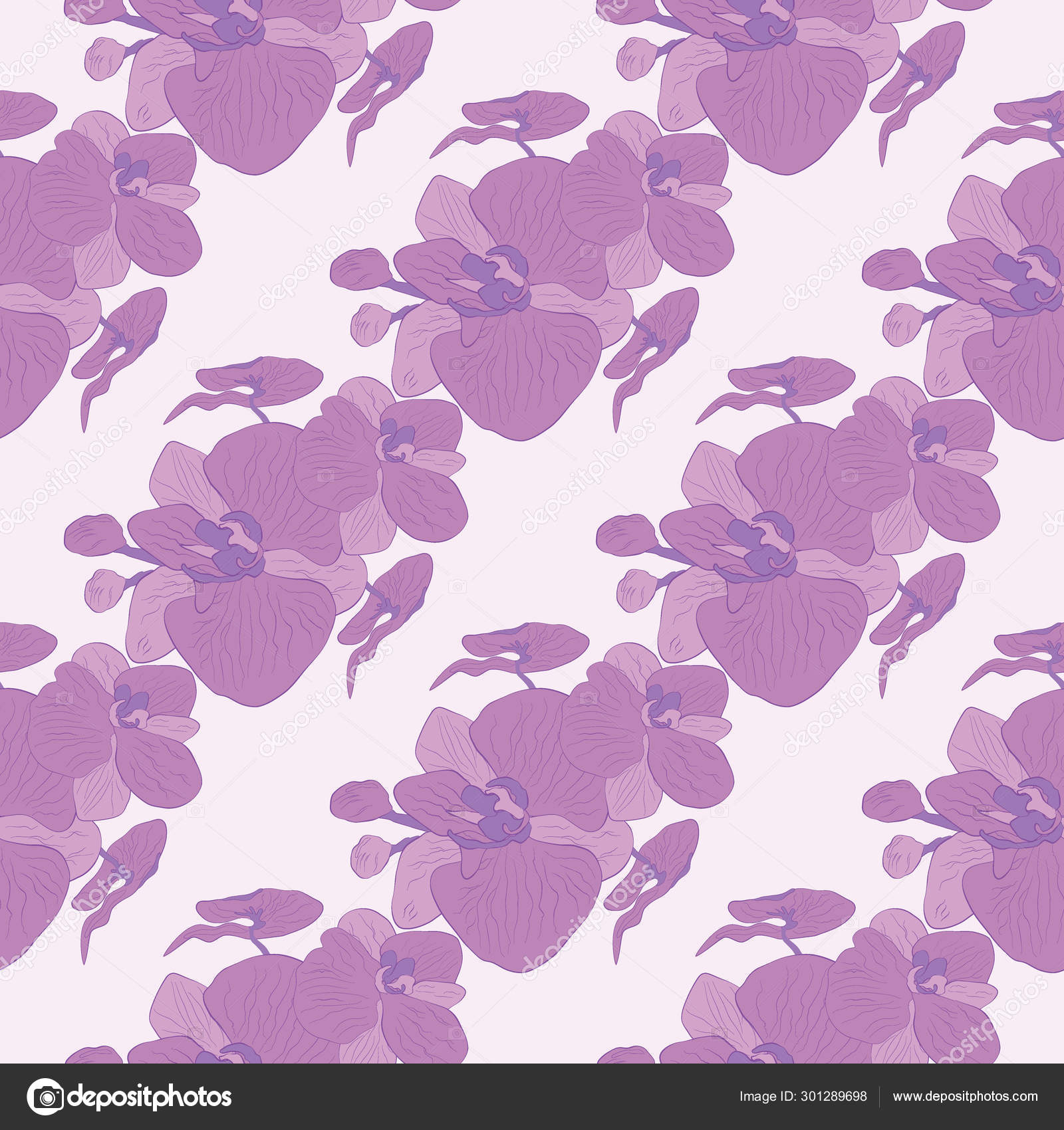 Orchid Vector Seamless Pattern Purple Tropical Flower Isolated On