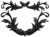 Schwarz Ornament auf einem weißen Hintergrund. Isoliert. 3D illustration