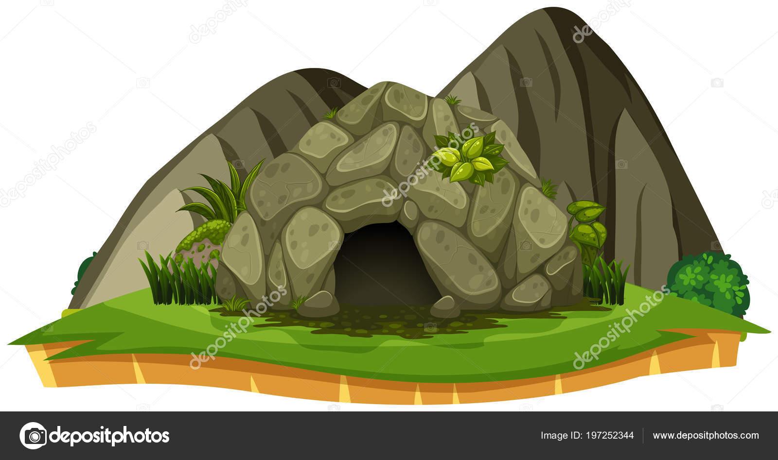 白背景イラストを石の洞窟 ストックベクター Brgfx 197252344