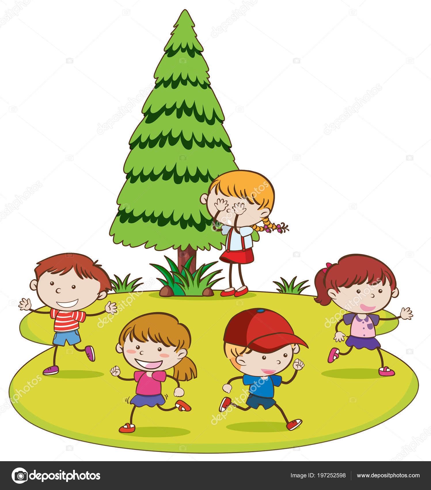 Niños Jugando Esconder Buscar Ilustración Del Parque ...