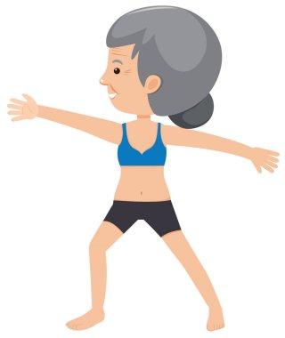 elderly lady doing yoga illustration