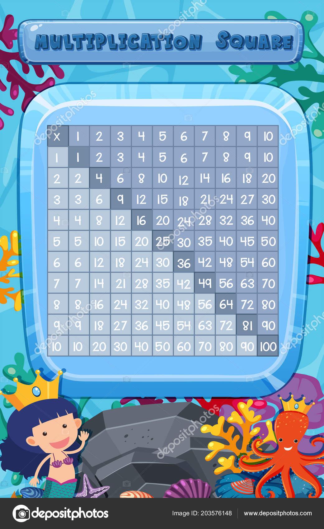 Math Multiplication Square Underwater Scene Illustration — Stock ...