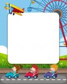 Fotografie Template frame with amsuement park theme illustration