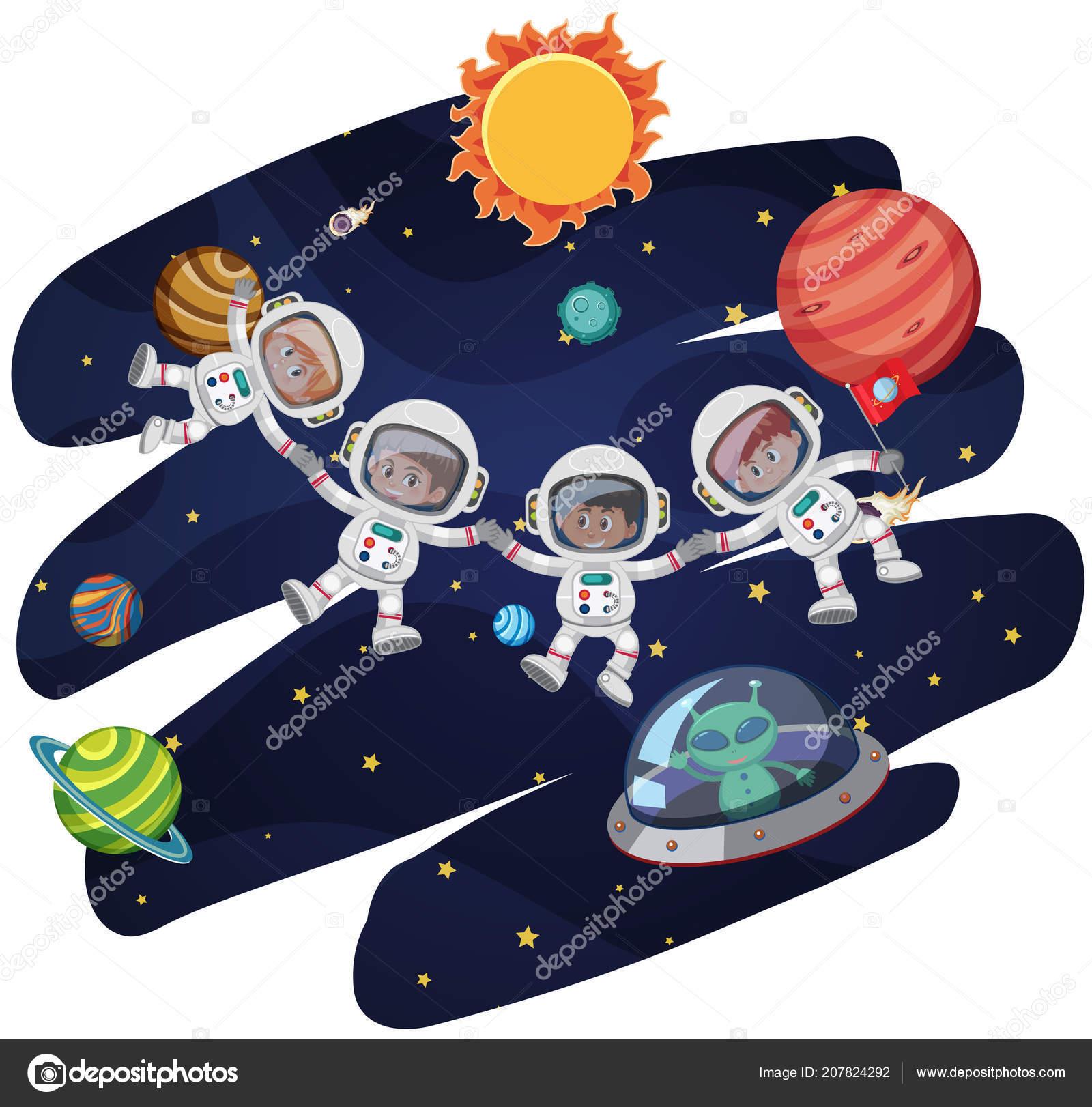 astronaut space template illustration stock vector brgfx 207824292