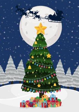 A christmas tree at night illustration