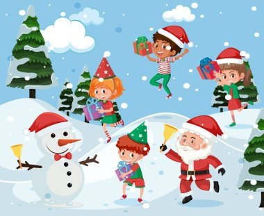 Children playing outside in snow illustration
