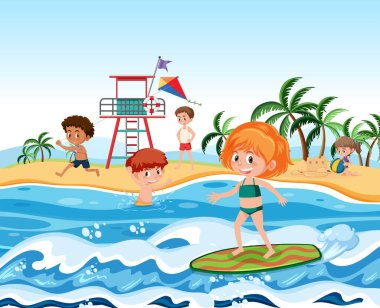 People at the beach illustration